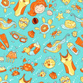 Vector hand drawn seamless pattern. Mom and baby. Swimming