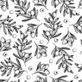 Vector hand drawn seamless pattern of olive branches. Natural cosmetic products. Hair care oils. Farm vegetables Royalty Free Stock Photo