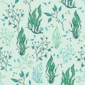 Vector hand drawn seaweed plants ocean life seamless pattern graphic design Stock Images