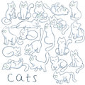 Vector hand drawn set of cats in different poses. These fluffy, cute kitties are jumping, sitting, climbing, sleeping Royalty Free Stock Photo