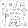 Vector hand drawn set with Golf tools. Royalty Free Stock Photo