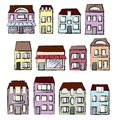 Vector hand-drawn set: houses and real estate Royalty Free Stock Image