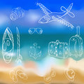 Vector hand-drawn set of icons and summer vacation on a background seascape.