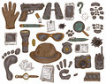 Vector hand drawn set of illustration with  detective tools and evidence Royalty Free Stock Photo