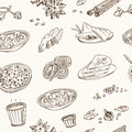 Vector hand drawn set of Indian cuisine. traditional spicy flavored dishes, desserts, beverages.