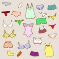 Vector hand drawn set with panty and lingerie underwear Stock Photo