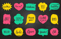 Vector hand drawn set of speech bubbles with phrases Hi, Hello, I love you, Yes, Wow, Welcome, Open, Kiss Me etc. Royalty Free Stock Photo
