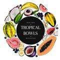 Vector hand drawn smoothie bowls poster. engraved fruits. Colored icons in round bodrer. Banana, mango, papaya, pitaya