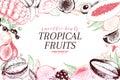 Vector hand drawn smoothie bowls poster. Exotic engraved fruits. Colored art. Frame border composition. Banana, mango