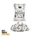 Vector hand drawn snack and junk food Illustration. Pork rinds.