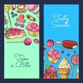 Vector hand drawn sweets vertical banner templates Royalty Free Stock Photo