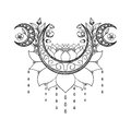 Vector hand drawn tattoo design. Crescent moon, lotus and flowers composition. Sacred theme Royalty Free Stock Photo