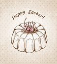 Vector hand drawn vintage easter background cake Stock Photo