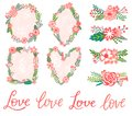 Vector hand drawn wedding flower, floral banners and frames. Design for cards and wedding invitations. Love