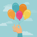 Vector hand holding balloons greeting card in flat style Stock Photo