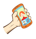 Vector hand holding smart phone icons showing dialog between man and woman Royalty Free Stock Photos