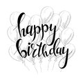 Vector hand lettering. Happy birthday greeting card with calligraphy. Design black and white overlay Royalty Free Stock Photo