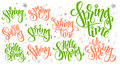 Vector hand lettering hello spring text set, written in various styles with doodle flowers and bubbles