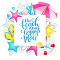 Vector hand lettering summer phrase on paper sheet surrounded with detailed flat and doodle seashells, sun umbrella