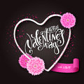 Vector hand lettering valentines day greetings text with 3d heart shape frame, chrysanthemum flowers, ribbon banner and