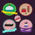 Vector hand made labels and badges for sweet shops eps Stock Images