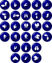Vector hand silhouette alphabet buttons Royalty Free Stock Photography