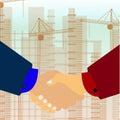 Vector handshake illustration. Background for business and finance.