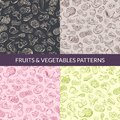 Vector handsketched fruits and vegetables vegan, healthy food, organic patterns set Royalty Free Stock Photo