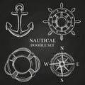 Vector handwheel, anchor, compass and lifebuoy