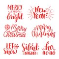 Let it Snow Hand Lettering Greeting Card. Vector. Modern Calligraphy.