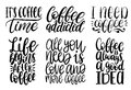 Vector handwritten coffee phrases set. Quotes typography. Calligraphy illustrations for restaurant poster, cafe label. Royalty Free Stock Photo