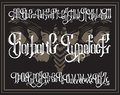 Vector handwritten gothic font for unique lettering with hand drawn illustration of surreal moth with human faces.