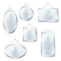 Vector hanging mirrors isolated on white Royalty Free Stock Photo