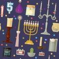 Vector hanukkah menorah candles candlelight flame decorative wax candlestick set cartoon christmas or jewish hanukah
