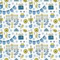 Hanukkah seamless pattern Royalty Free Stock Photo