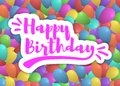 Vector happy birthday background with colorful balloons and lettering.Template for your festive design. Royalty Free Stock Photo