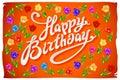 Vector Happy Birthday Card flower tulip vintage orange background Royalty Free Stock Photo