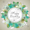 Vector Happy Birthday greeting card with beautiful clematis flow