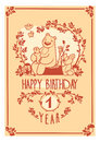 Vector Happy Birthday greeting card with cute rabbit, bird, hedgehog, mouse, fox and bear. Invitation design. Royalty Free Stock Photo