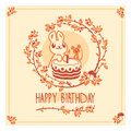 Vector Happy Birthday greeting card with cute rabbit, mouse and cake. Invitation design. Royalty Free Stock Photo