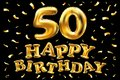 Vector happy birthday 50th celebration gold balloons and golden confetti glitters. 3d Illustration design for your greeting card,