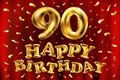 Vector happy birthday 90th celebration gold balloons and golden confetti glitters. 3d Illustration design for your greeting card,