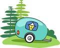 Vector happy camper trailor