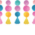 Vector Happy Colorful Birthday Party Pom Poms and Tassels Set Horizontal Seamless Repeat Border Pattern. Great for