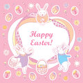 Vector Happy Easter greeting card. Contour Easter rabbits, egg, basket and ornate frame in pastel colors on the pink background.