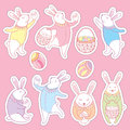 Vector Happy Easter patch badges set. Contour Easter rabbits, egg and basket in pastel colors isolated on pink background.