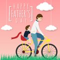 Vector of happy father`s day greeting card. father biking bicycle with his son ride on a pillion, riding in the grass field