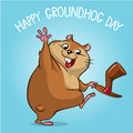 Vector happy groundhog. Groundhog day design with cute groundhog waving. Vector