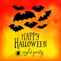 Vector Happy Halloween greeting card, doodles element for Halloween design. Set of Halloween silhouettes on watercolor backgroun