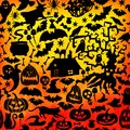 Vector Happy Halloween seamless pattern,classic bundle icons, doodles element for Halloween design. Set of Halloween silhouettes. Royalty Free Stock Photo